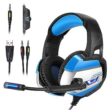 [PS4 Xbox one PC Estéreo Juego Auriculares] AxCella Gaming Cascos Bajo Profundo estéreo LED