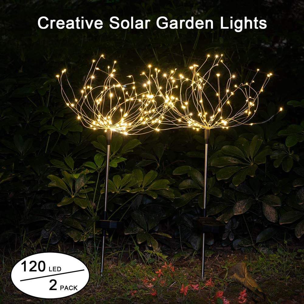 2 Pack Outdoor Solar Starburst Lights/Garden Lights 120LED Solar Firework Lights 40Copper Wires String Landscape Light-DIY Flowers Fireworks Trees for Walkway Patio Lawn Backyard,Christmas Party Decor