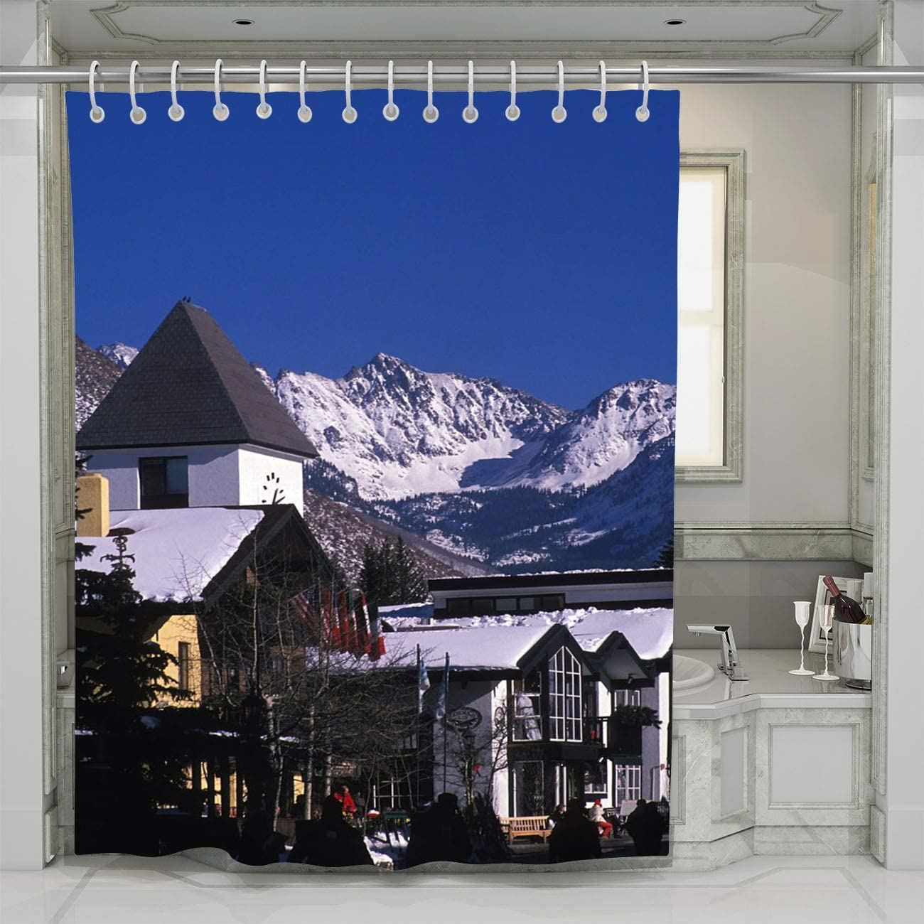 BEISISS Mountain Shower Curtain Vail Village and Gore Mountain Range in Winter Perfect for Bathroom Decor with Hooks,66Wx72L
