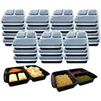 3 Compartment [10 Pack] Premium BPA Free Reusable Meal Prep Containers - Plastic Food Storage Trays with Airtight Lids…