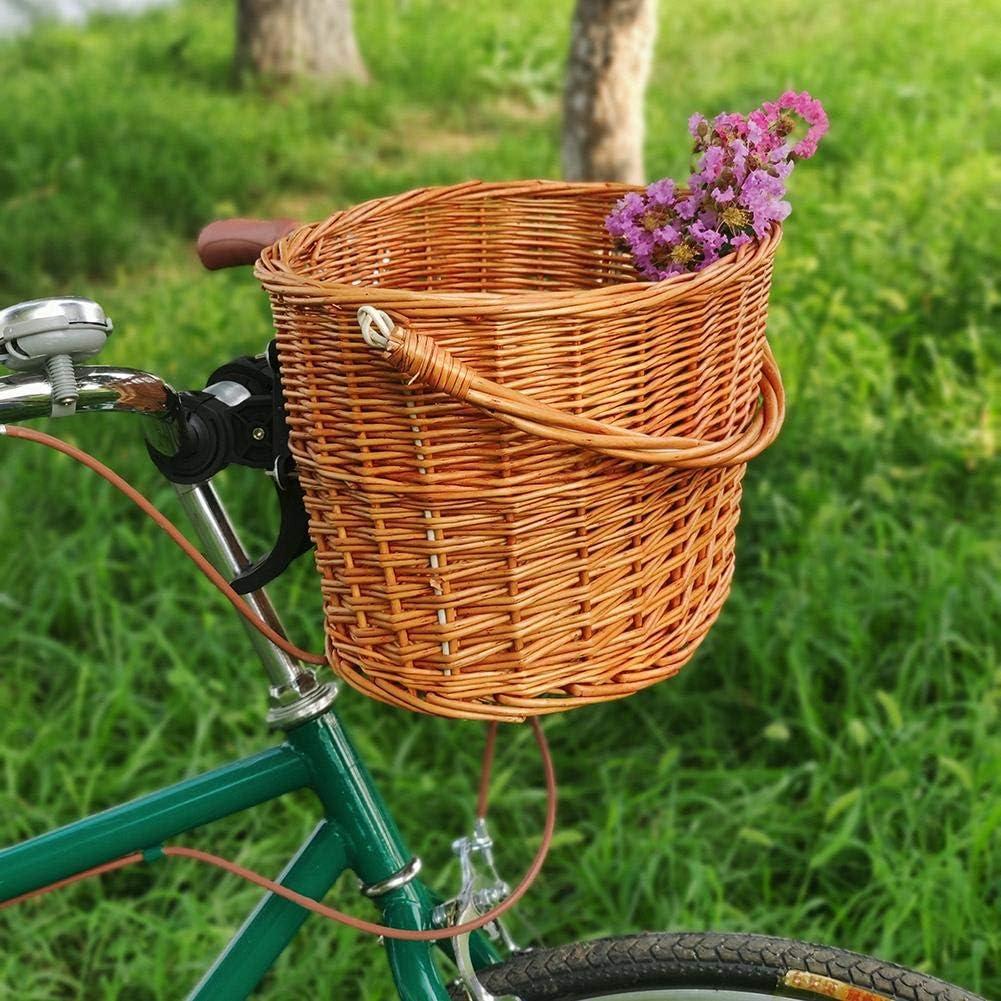 Bicicletas para Ni/ños Y Ni/ñas Artesan/ía Popular Hecha A Mano Vintage Cesta De Mimbre para Bicicleta con Asa Delantera con Correa De Cuero Accesorios para Bicicletas Cesta para Bicicleta