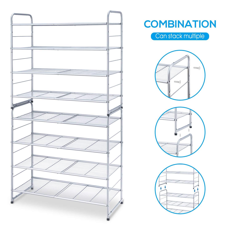 Expandable /& Adjustable Shoe Organizer Storage Shelf Silver Wire Grid Simple Trending 4-Tier Stackable Shoe Rack