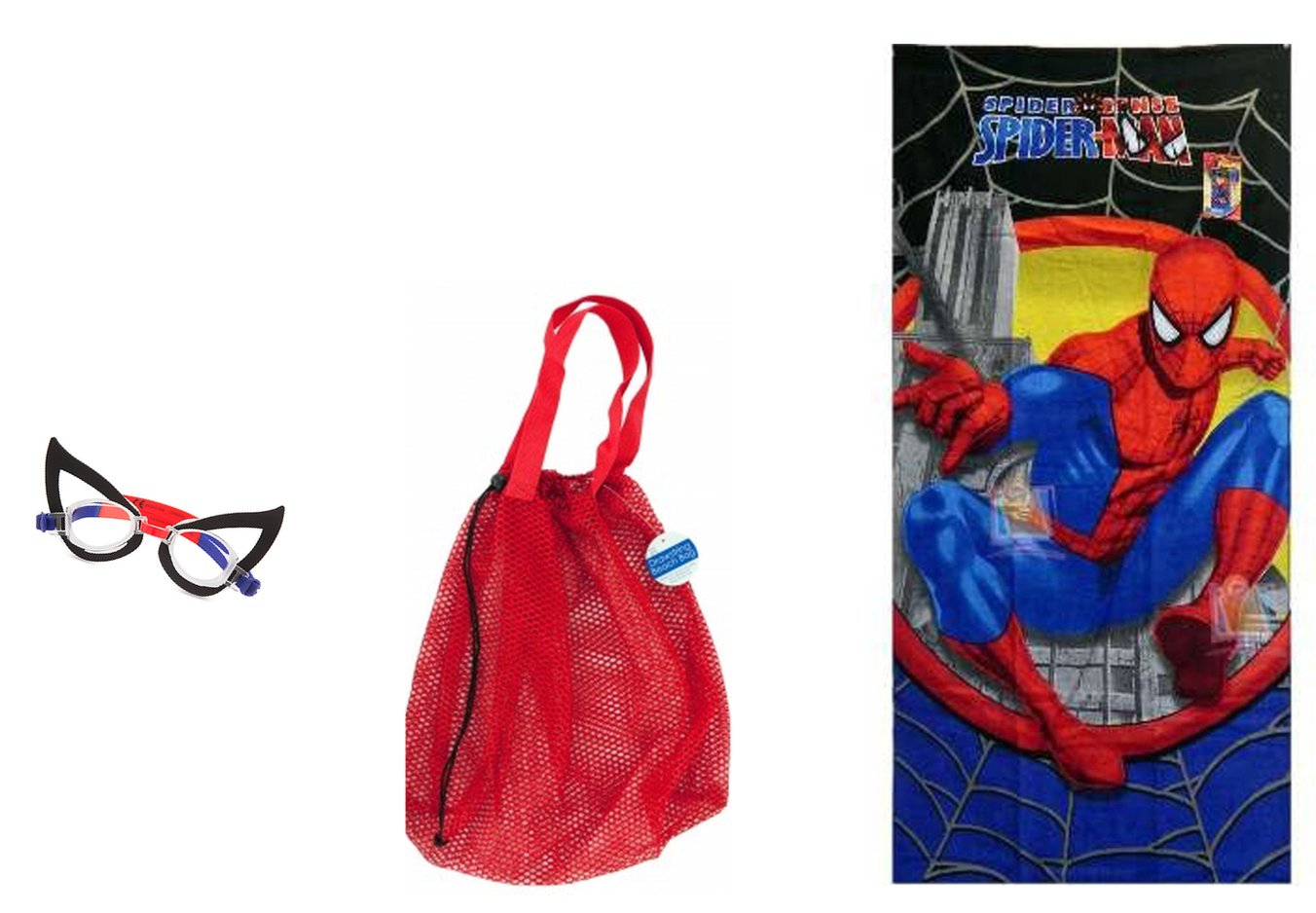 CPreston Interests Childrens Spiderman Beach Towel Red Mesh Drawstring Bag Swim Goggles (3 Piece Bundle)