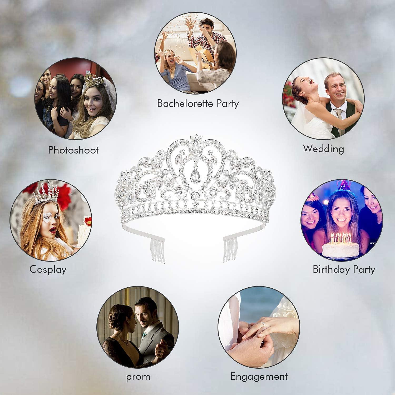 Tiara Cristal Couronne avec Strass Peigne pour Couronne De Mari/ée Proms De Mariage Concours Princesse Parties Anniversaire pour Femmes Filles