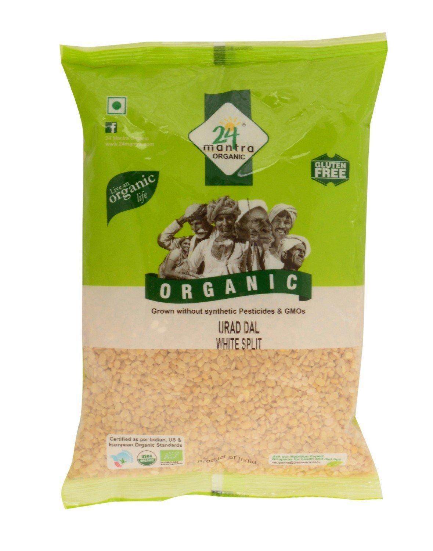 Organic Urad Dal Split 1 lb, Split Matpe or Beluga Beans Washed Lentils Without Skin,USDA Certified Organic, Pesticides Free, Adulteration Free, Sodium Free - 24 Mantra Organic