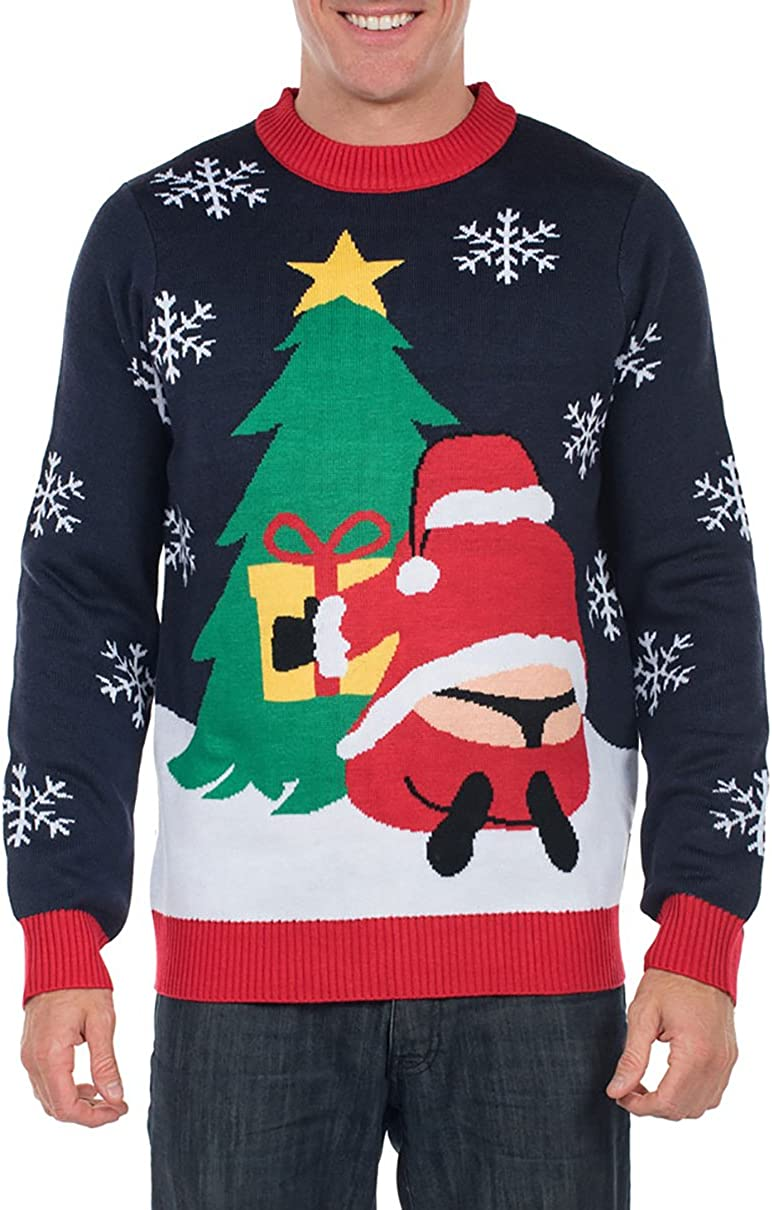 Funny Ugly Christmas Sweater Tipsy Elves Mens Winter Whale Tail Santa Sweater