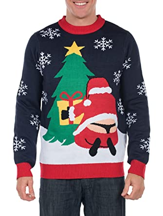 tipsy elves mens winter whale tail santa sweater funny ugly christmas sweater small - Hilarious Ugly Christmas Sweaters