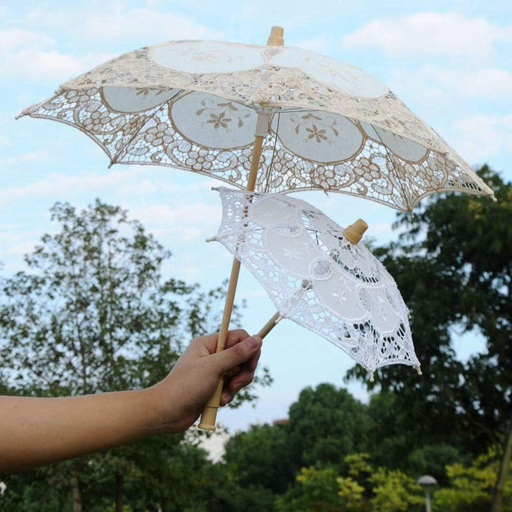Onefa Lace Parasol Handle Umbrella Vintage Handmade Party Bridal Wedding Decoration Mini Pocket Compact Folding Travel Embroidered Parasol Bridal Dancing Show Pocket Sport Umbrellas Beige, S