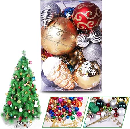 35-45Pcs Christmas Tree Pendants Gifts Soota Christmas Baubles Ornaments 3-8cm Merry /& Bright 35-45Pcs Red//Green//Gold//Silver Plastic Shatterproof various Shapes Christmas Balls Decoration