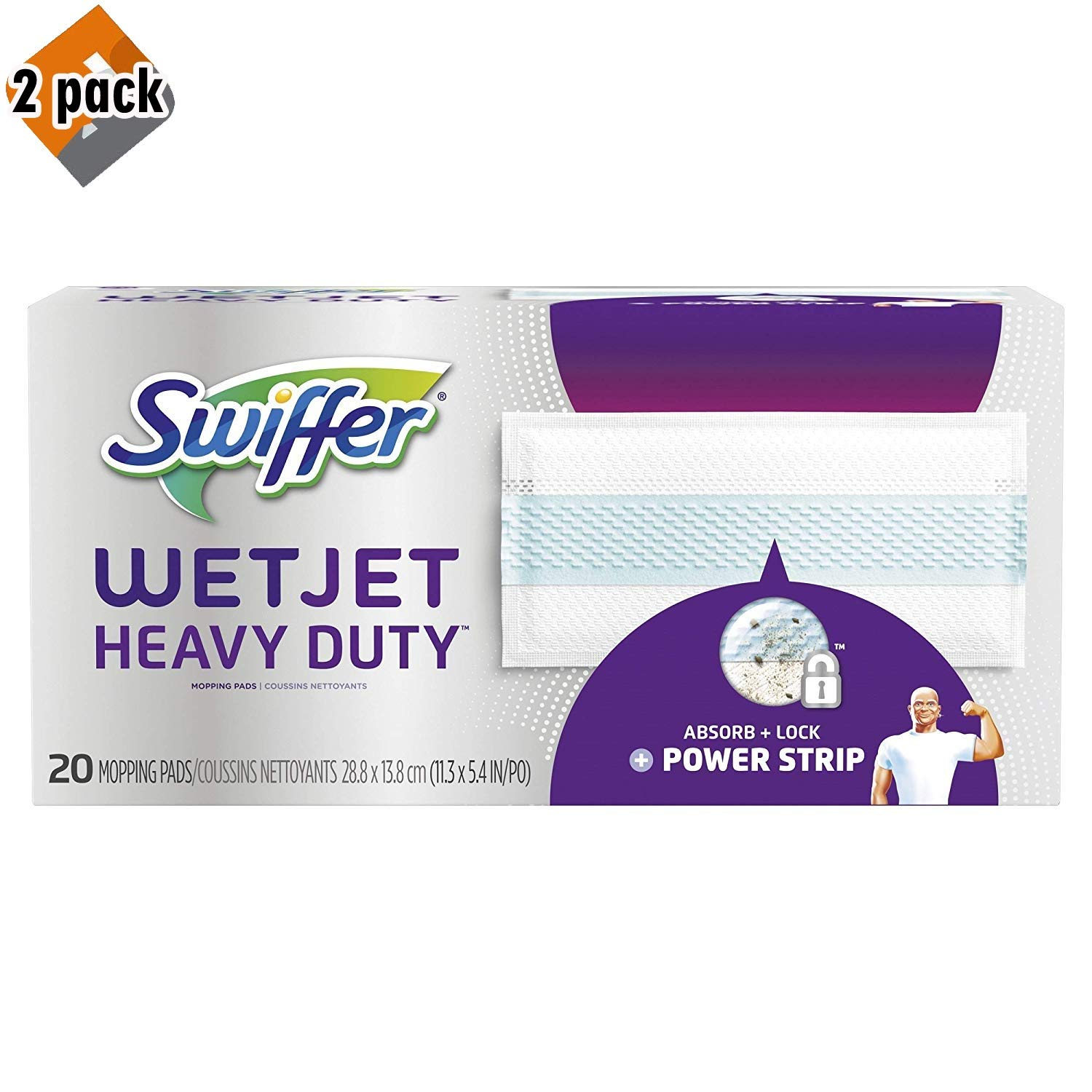 Swiffer Wetjet Heavy Duty Mop Pad Refills for Floor Mopping and Cleaning, All Purpose Multi Surface Floor Cleaning Product, 20 Count (Packaging May Vary) - 2 Pack by Swiffer (Image #1)
