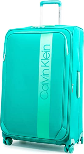 Calvin Klein Park Lane Expandable Softside Spinner Luggage, Green, 28 Inch
