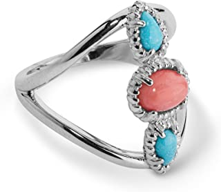 product image for Carolyn Pollack Sterling Silver Turquoise and Salmon Coral Three Stone Ring Size 5