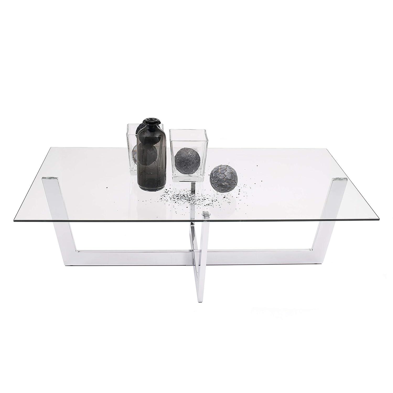 Mesa de Centro ARAC Cristal Templado y Estructura de Acero Cromado 120x70 cm