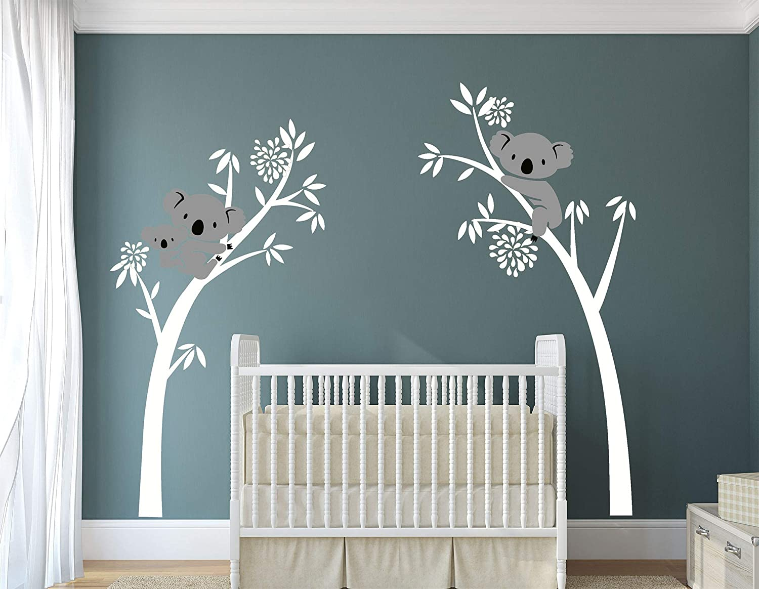 LUCKKYY Three Koalas Tree Branches Wall Decal Wall Sticker Baby Nursery Decor Kids Room Decoration (White)