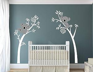 LUCKKYY Three Koalas Tree Branches Wall Decal Wall Sticker Baby Nursery Decor Kids Room Decoration (White)