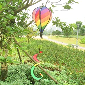MEXUD-Striped Rainbow Windsock Hot Air Balloon Wind Spinner Multi-Colored Garden Decor by MEXUD