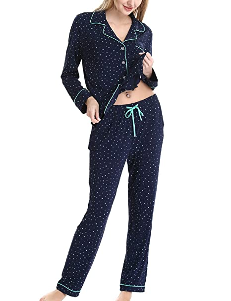 Laides Knit Soft Loungewear Sets Buttom Down Pajamas Shirt with Elastic Waist Pj Pants by Nora TWIPS(Drak Blue with Green Star,L)