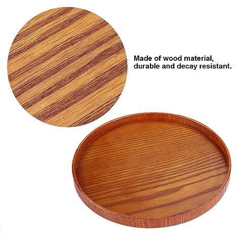 Holz Servierplatte Holz Runde Serving Tee Tablett Obst Dessert