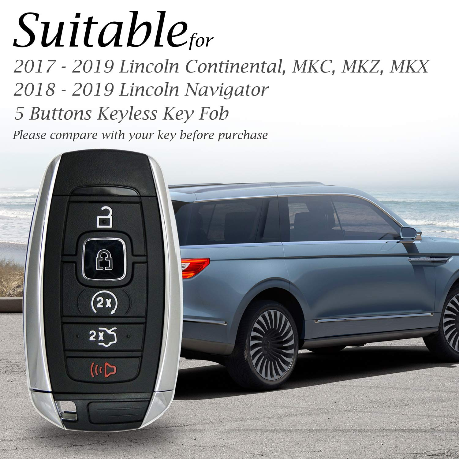 MKX 5 Buttons, Black//Red MKC Vitodeco Genuine Leather Keyless Smart Key Fob Case Cover Protector with Leather Key Chain for 2017-2019 Lincoln Continental 2018-2019 Lincoln Navigator MKZ