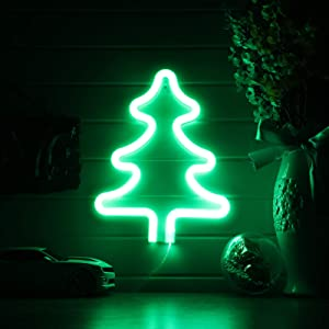Christmas Tree Neon Signs,Led Neon Signs for Wall Decor, Battery or USB Operated Neon Light Sign Light Up for Kids Room,Bar,Christmas,Parties,Home(Green)