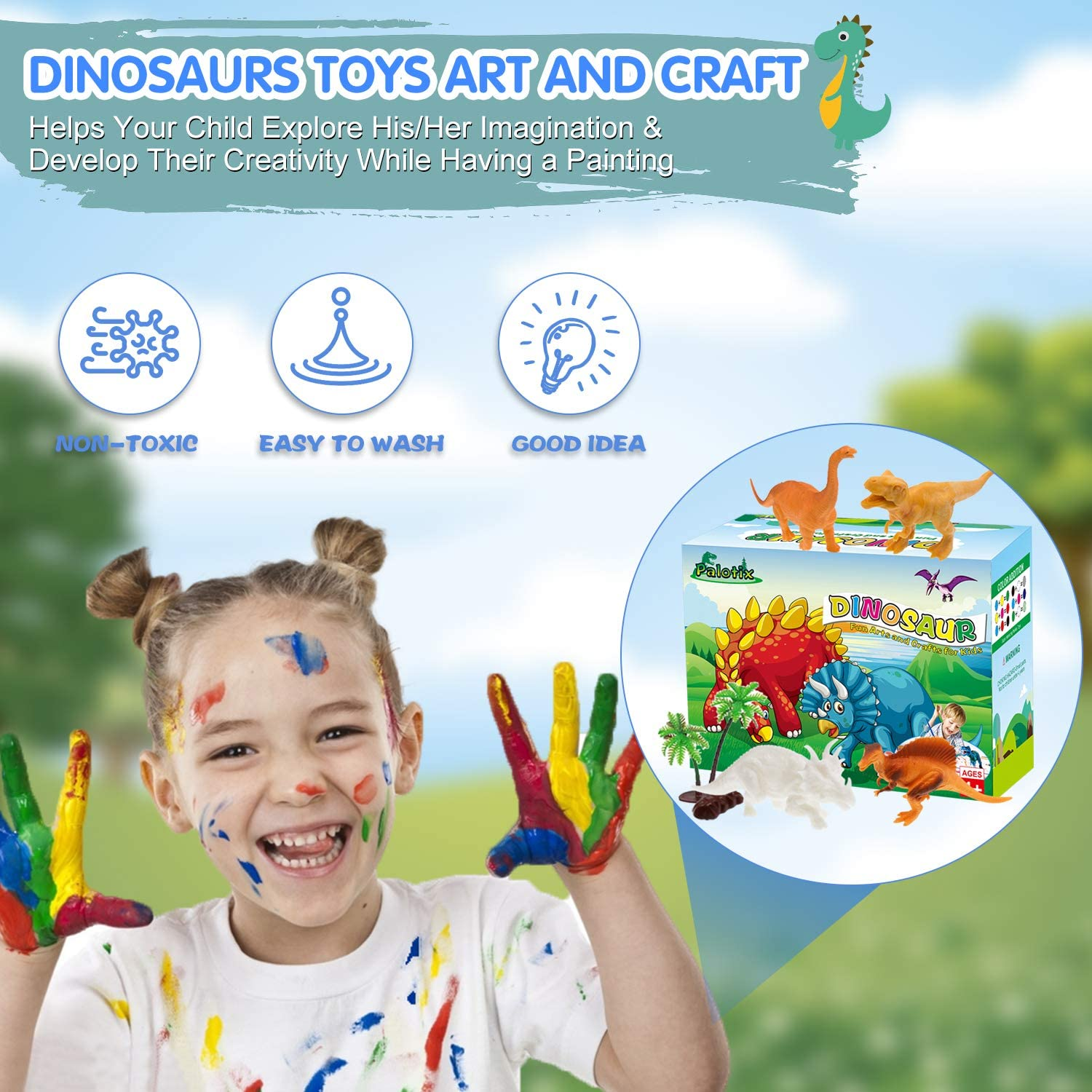 6 Different Dinosaurs /& Play Mat /& 2 Dinosaur Eggs /& 2 Trees /& 2 Rocks Gifts Toys Art and Crafts for Boys Girls Age 4 5 6 7 8 9 Years Old Arts and Crafts for Kids Painting Kit