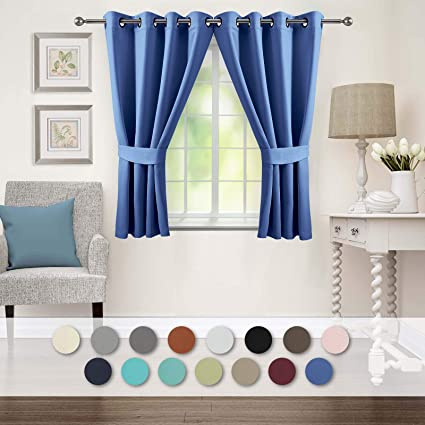 Veeyoo Blackout Curtains 2 Panels Thermal Insulated Grommet Window Curtain Thick Darkening Drapes For Living Room Bedroom 52 X 45 Inches Royal Blue