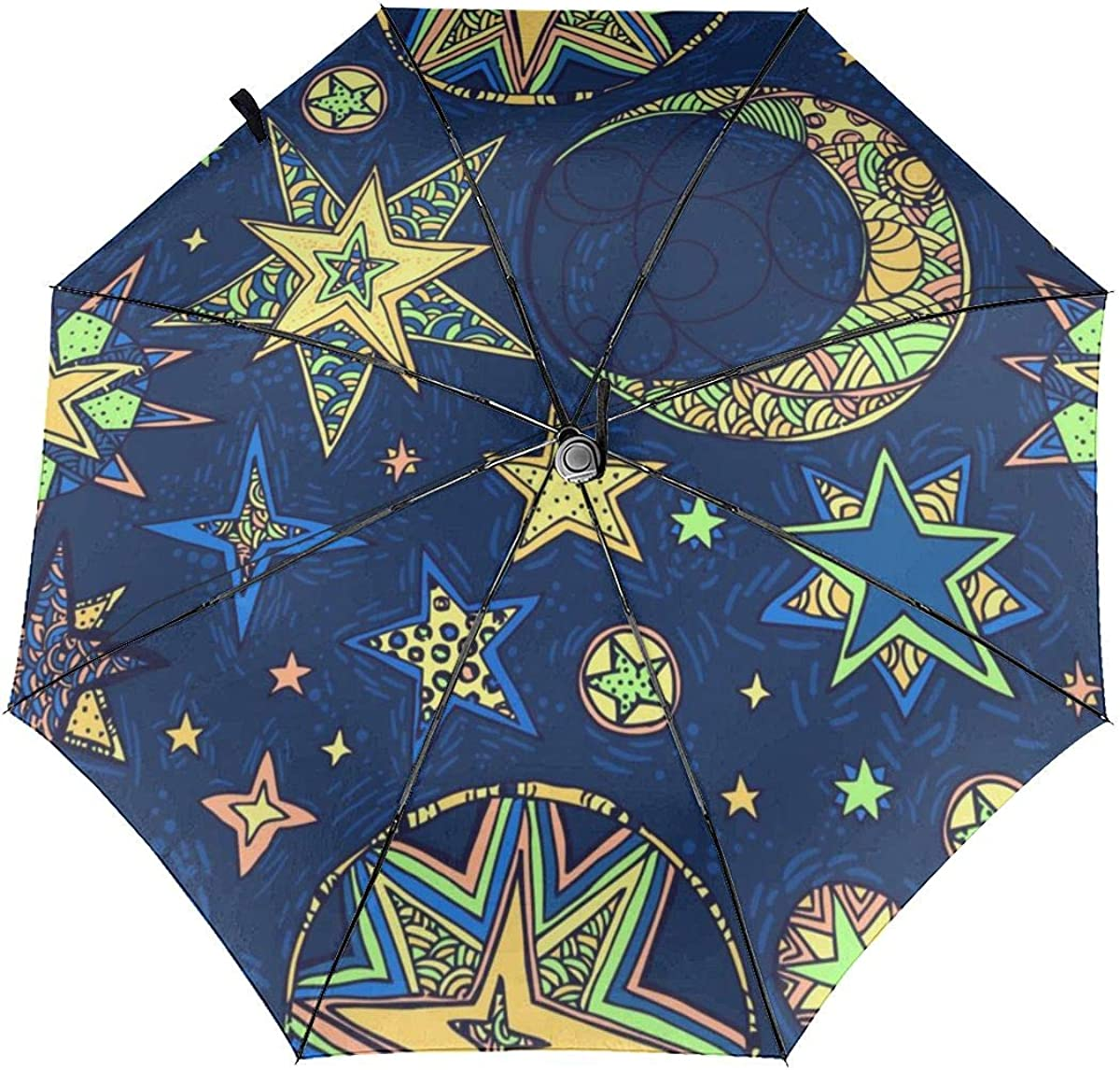 Fantasy Starry Sky Compact Travel Umbrella Windproof Reinforced Canopy 8 Ribs Umbrella Auto Open And Close Button Customized
