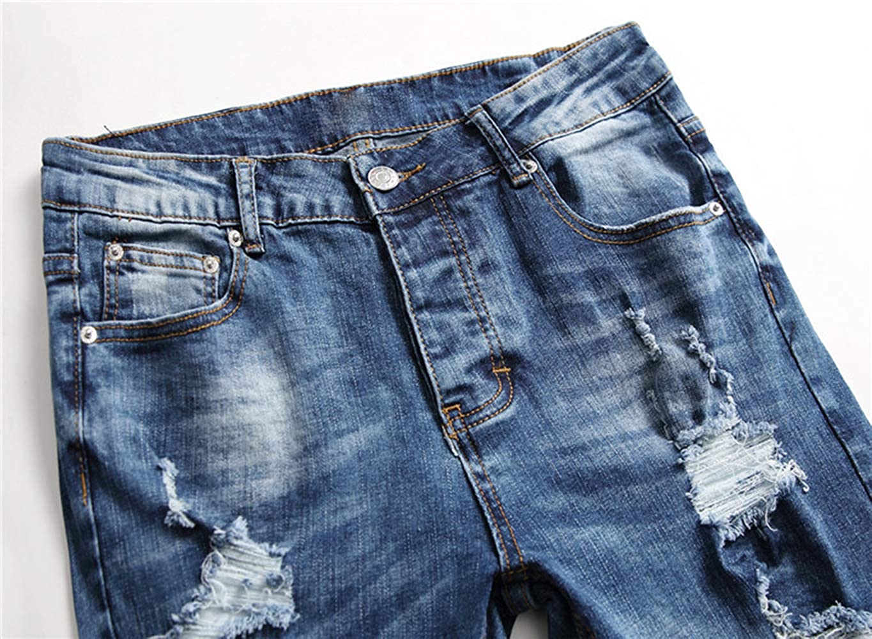 KORSE Men Moto Printed Ripped Holes Skinny Jeans Biker Denim
