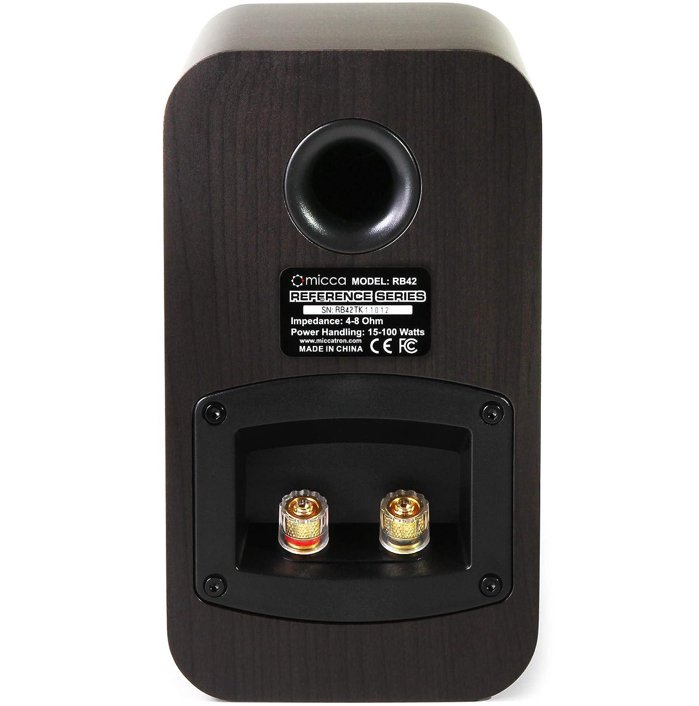 Dark Walnut, Pair Micca RB42 Reference Bookshelf Speaker with 4-Inch Woofer and Silk Tweeter