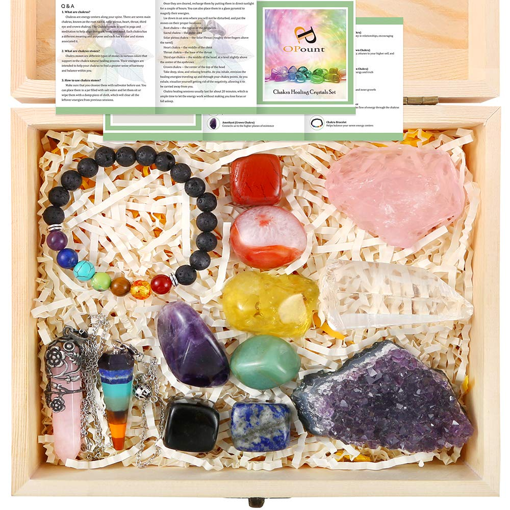 PP OPOUNT 13 Pieces Healing Crystals Set, Chakra Stones Kit Include Instructions and Wooden Box for Healing and Meditation