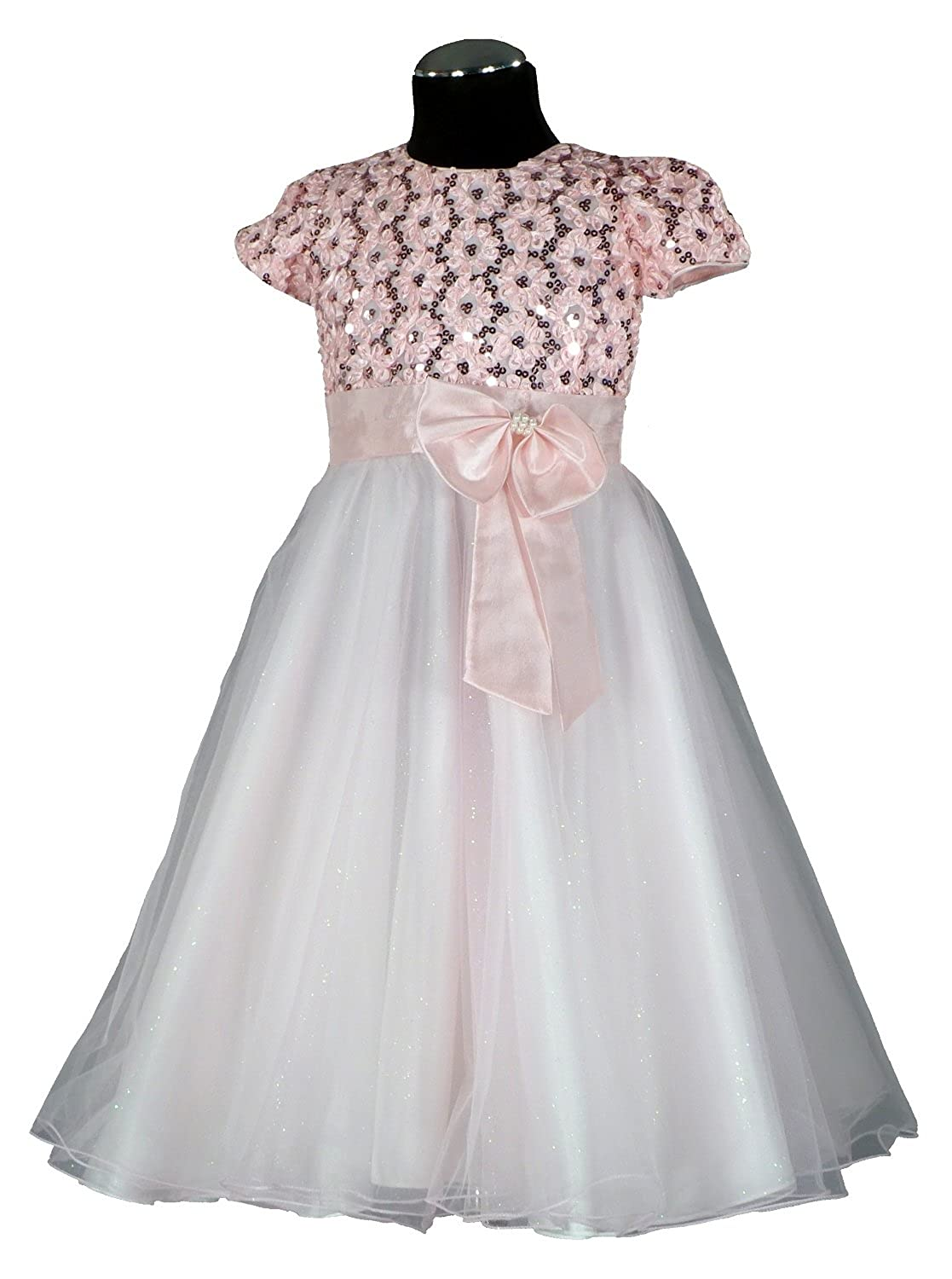 Velvet Rose Size 104?-?Live?-?Girls Dress Pink Flower Girl Dress Satin/Chiffon Calf Length PC533?158?(4-12)