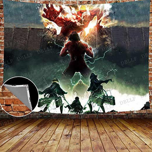Amazon Com Dbllf Japanese Animation Tapestry A World Of Giants Background Wall Attack On Titan Tapestry 80 X60 Art Wall Hanging Flannel For Bedroom Living Room Dorm Fashion Dbls1451 Home Kitchen