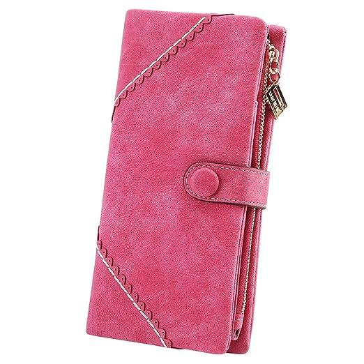 2d13688106 Jastore Women s Long Leather Wallet Button Clutch Purse Card Holder Case  (Rose)