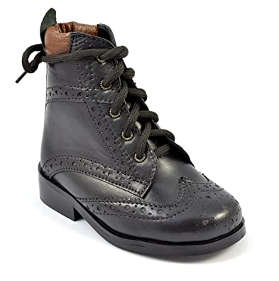 e44edb0e7c8 Children Kids Infant Junior Black Lace-up Chelsea Boots Style 5001 - UK 5
