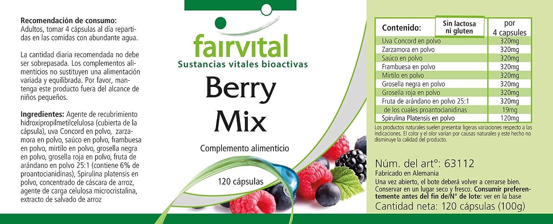 bayas PUR - 1 mes - VEGANO - dosis alta - 120 cápsulas - 8 bayas Spirulina: Amazon.es: Salud y cuidado personal