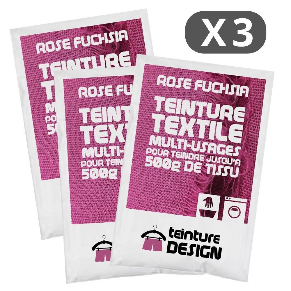 Set de 3 bolsas de tinte textil –  Rosa Fucsia –  Teintures universales para ropa y telas naturales Teinture Design