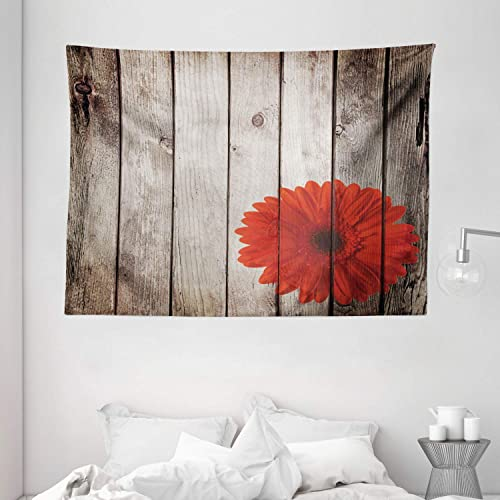 Ambesonne Grunge Decor Collection, Rustic Wooden Garden Fence with a Red Daisy Bloom Picture Flower Art Floral Garden Design, Bedroom Living Room Dorm Wall Hanging Tapestry, 80 X 60 inches, Brown