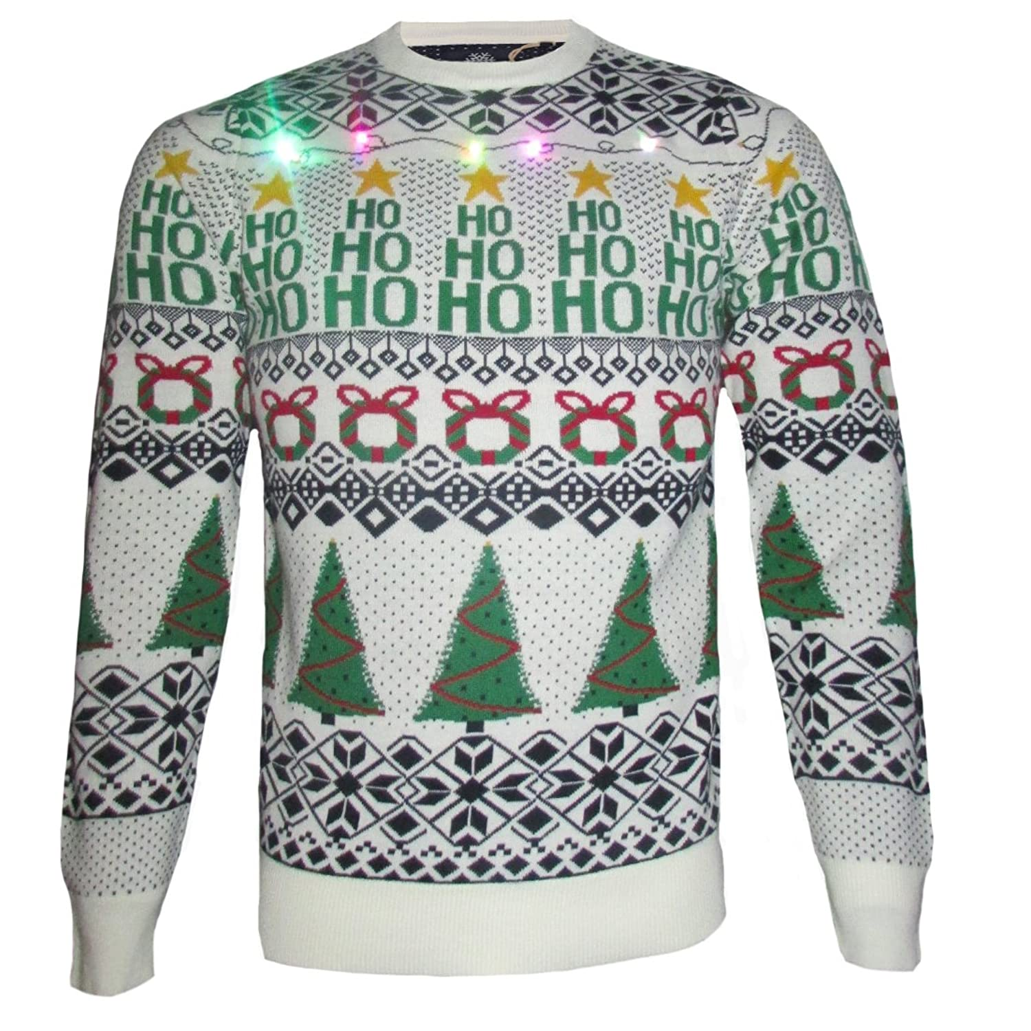 Mens Threadbare Xmas Jumper LED Light Up Novelty Knit Snowman Christmas Sweater Top