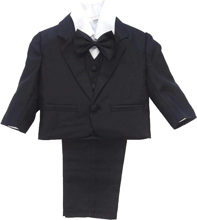 NG 5tlg. TaufanzugBabyanzugAnzug mit Smoking Hemd für Jungen, schwarz