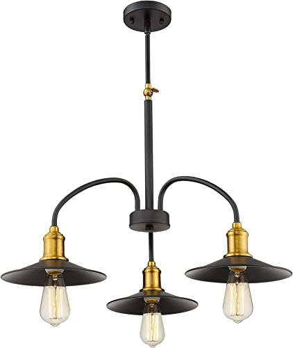 Jazava Industrial Kitchen Island Lighting, 3-Lights Modern Chandelier, Farmhouse Pendant Light, Adjustable Swing Arm, Black and Brass Finish