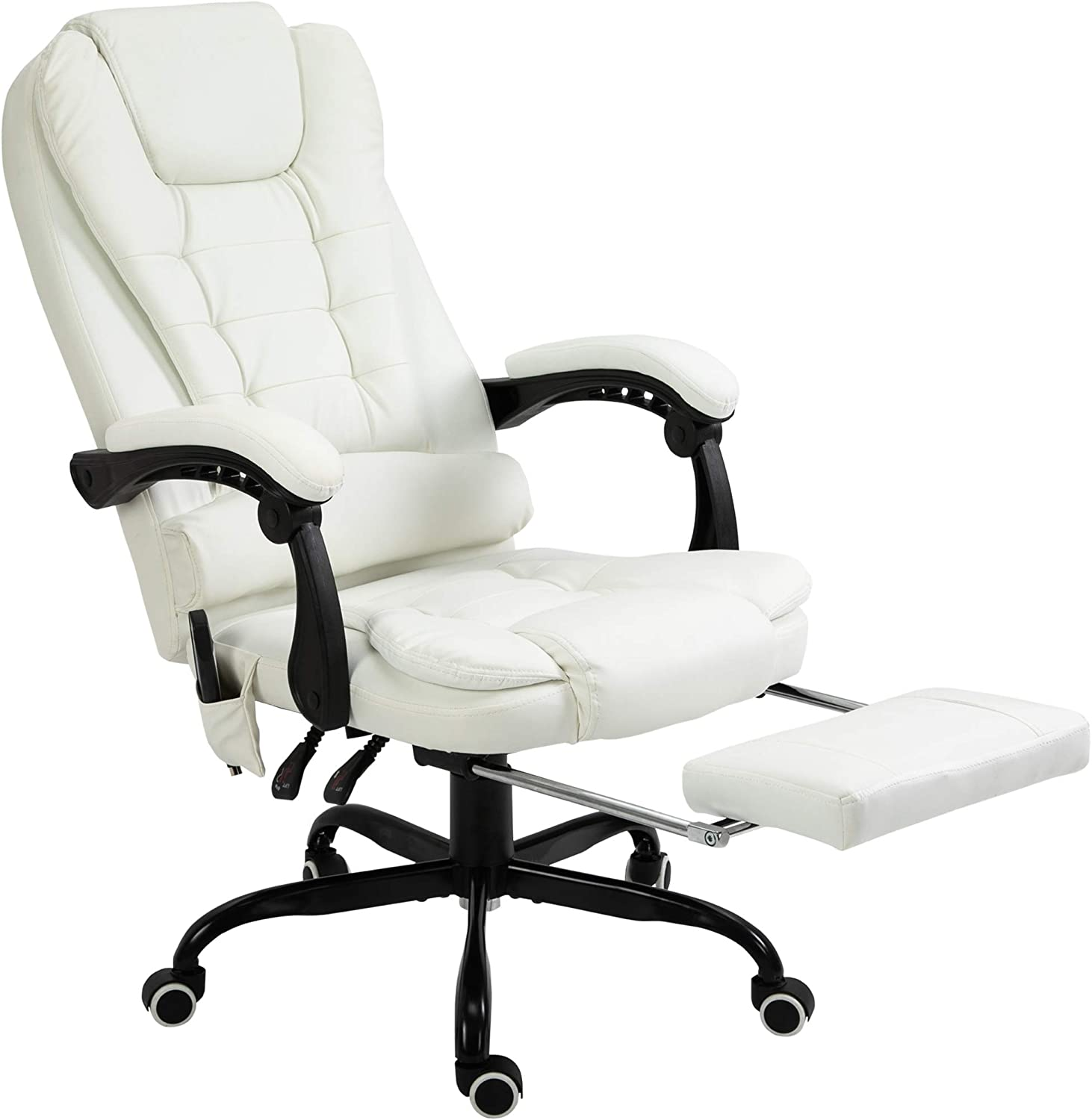 Vinsetto High Back Massage Office Chair with 7-Point Vibration Heating Function Reclining Back and Adjustable Height with Lumbar Support Headrest Footrest White