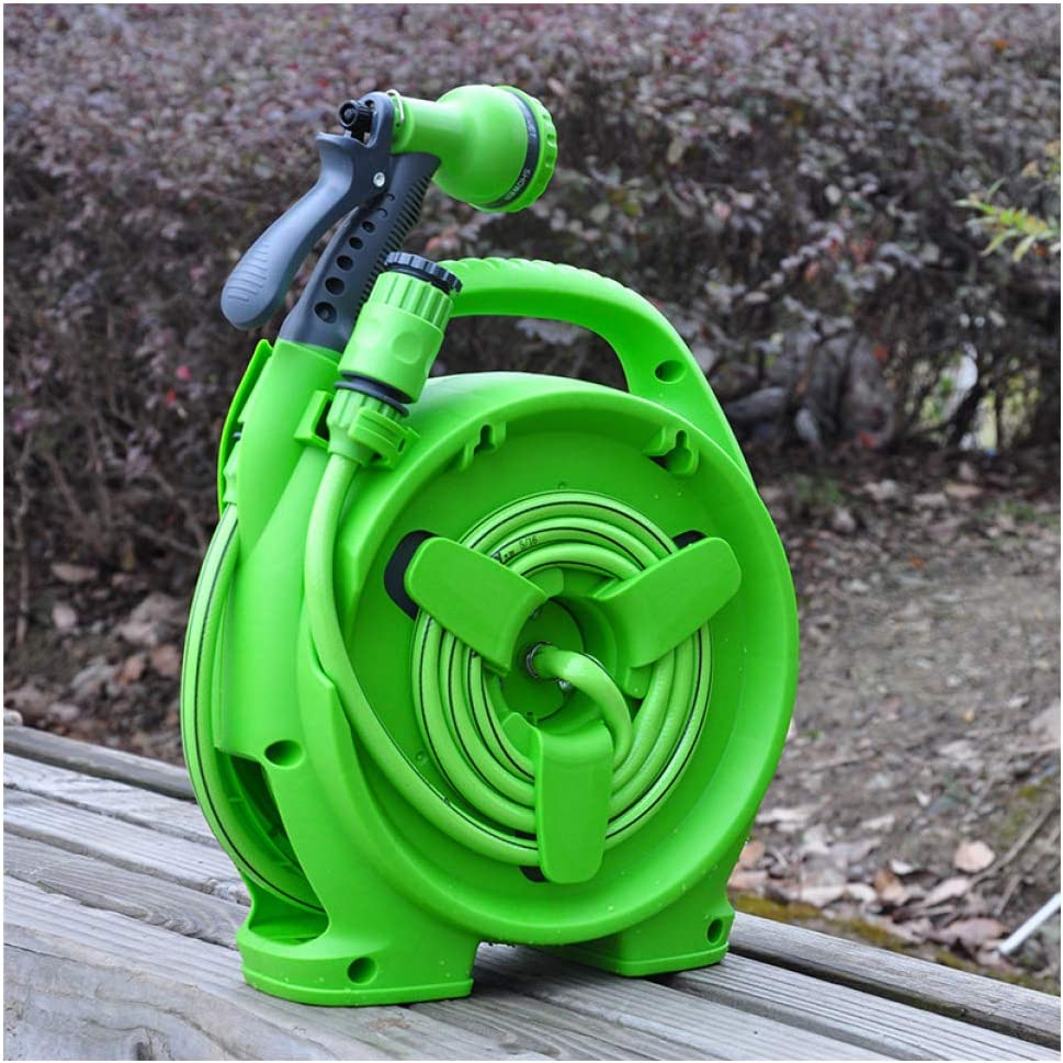 Garden Hoses Reel,With Multifunction Nozzles Spray Guns,Portable Water Pipe Car Wall Hanging,For Garden Farm,10m Water Pipe+2m Diversion Pipe,Green Green