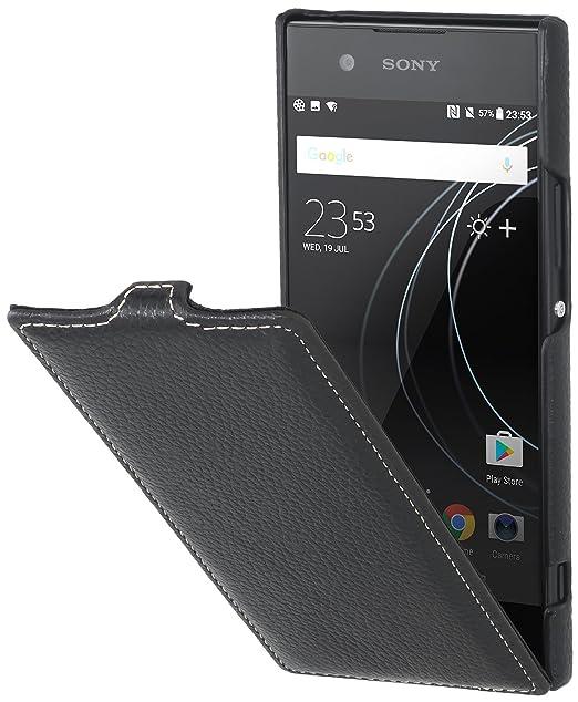 official photos c20a3 24d23 Amazon.com: StilGut Genuine Leather Flip Case for Sony Xperia XA1 ...