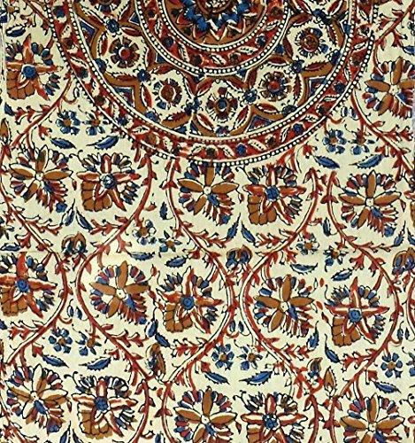 Homestead Unique Beautiful Handmade Kalamkari Mandala Block Print Cotton Long Scarf 72 x 15 Inches Red Green Beige