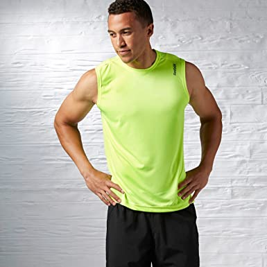 8636e3a105793 Reebok Mens Hi-Vis Running Training Fitness Vest Yellow - XL  Amazon.co.uk   Clothing