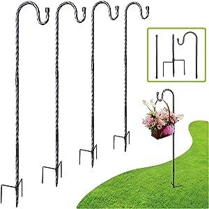 ZCDZ Shepherds Hook,Bird Feeder Pole,Imitate Rattan Design,Garden Shepherd Hook for Hanging Bird Feeders, Flower Pots, Lanterns, Wedding Decor 1/2 Inch Thick, 42Inch -Matte Black
