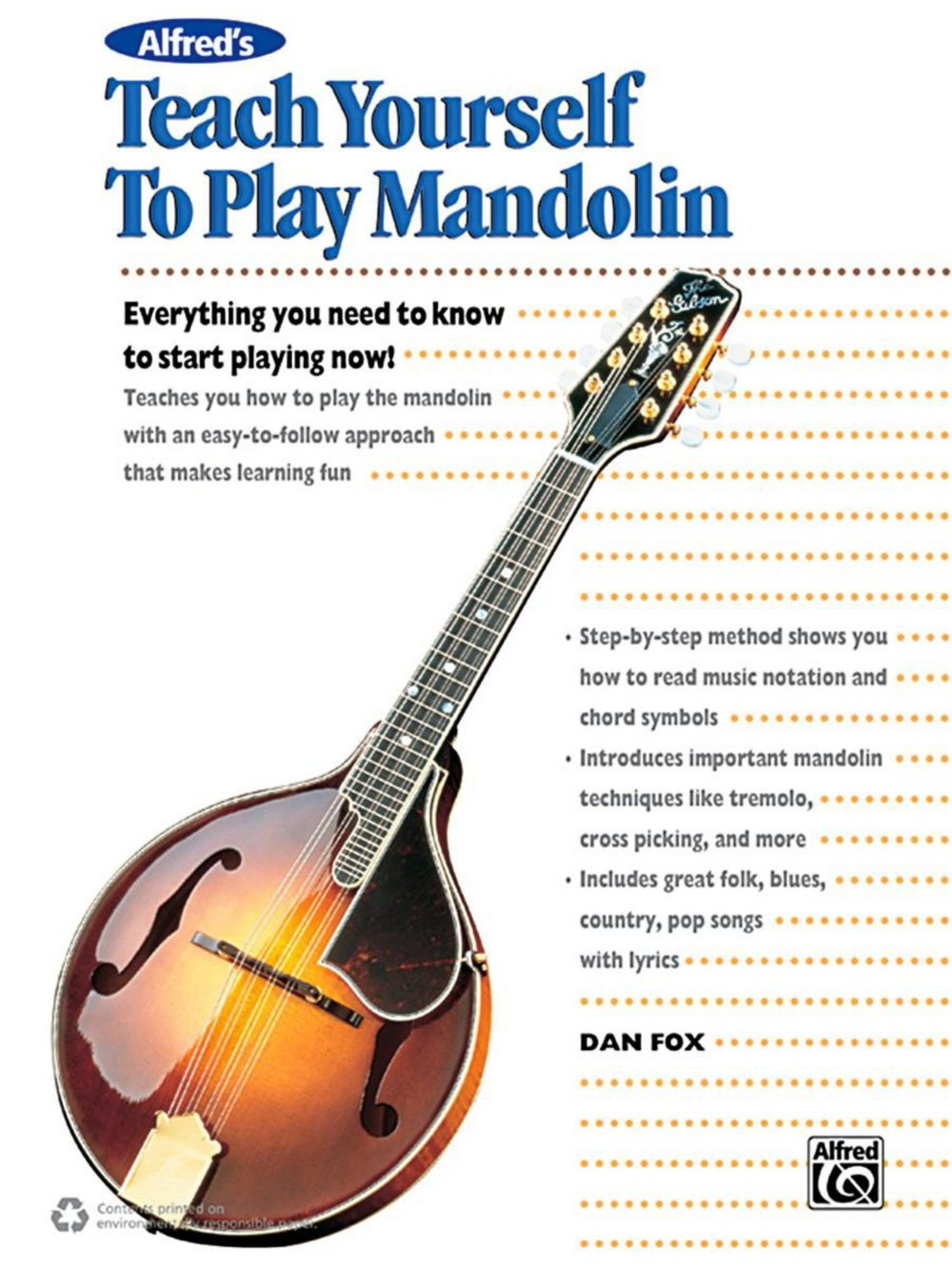 Amazon Alfred Alfreds Teach Yourself To Play Mandolin Book Cd
