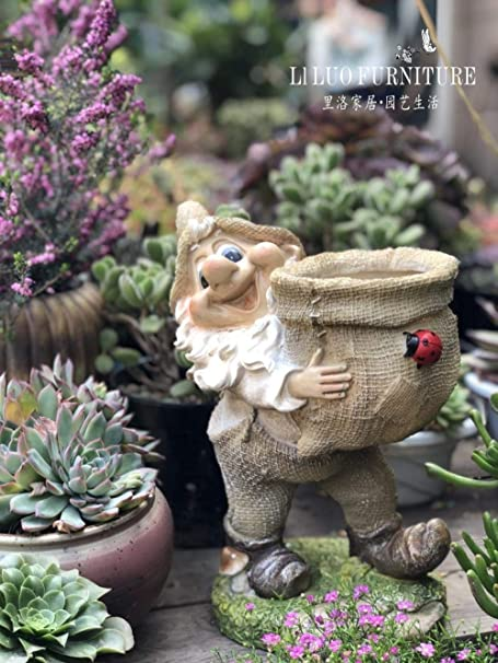 plzxy Jardín al Aire Libre decoración de jardín Decoración de jardín Creativo Resina enana Escultura de Dibujos Animados decoración@Duende con Mariquita de Marihuana: Amazon.es: Hogar