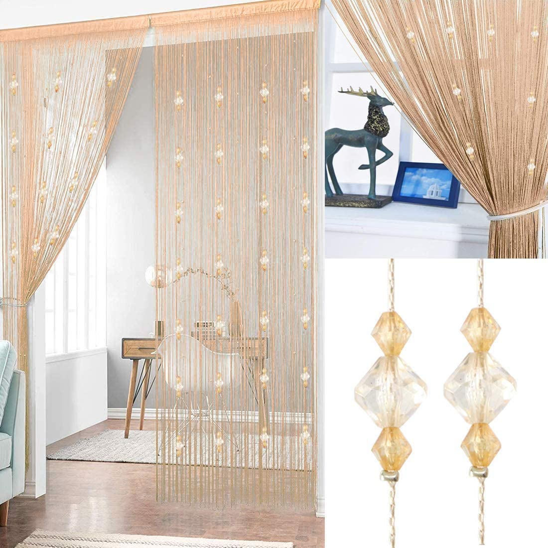 AIZESI Beaded Door Curtain String Curtain for Doorways Divider or Window 90x200cm Champagne-1pcs