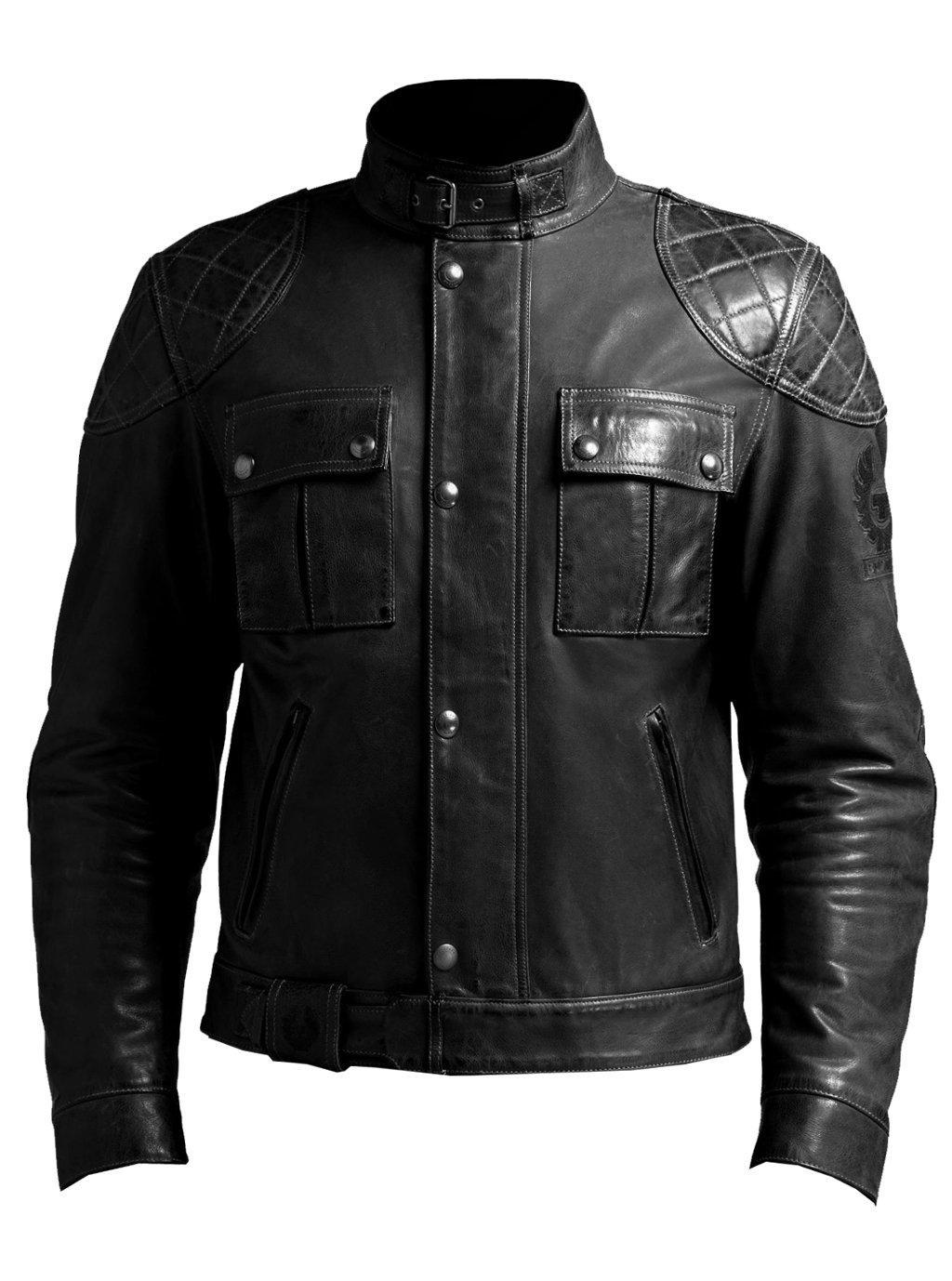 VearFit Smooth fashion Regular Big & Tall Size Black genuine leather jacket for men, XX-Large, Black